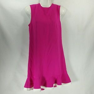Victoria Beckham XS Pink White Peplum Shift Dress